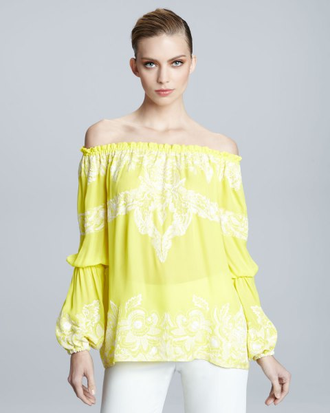 yellow printed off the shoulder peasant top with white jeans