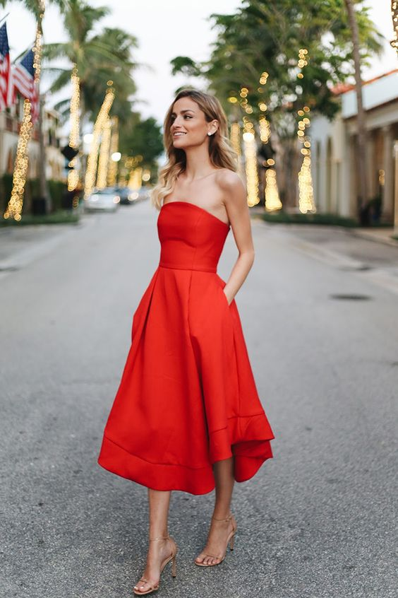 red strapless dress date night