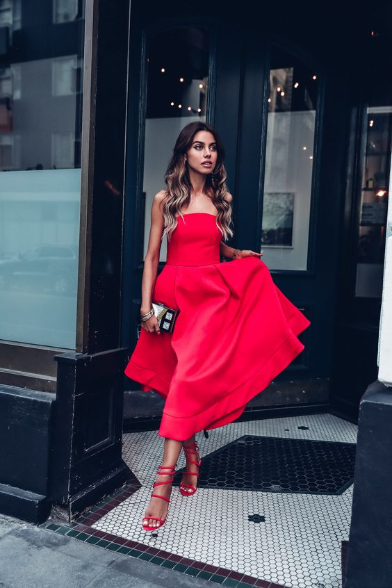 red strapless dress all red