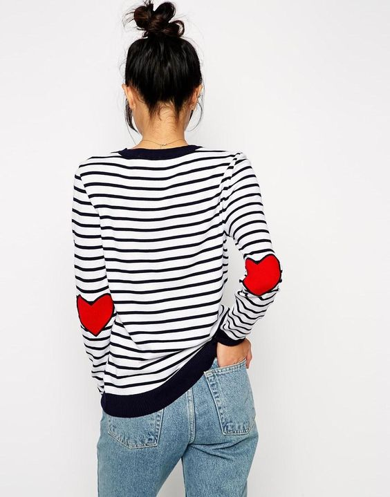 elbow patch shirt striped heart
