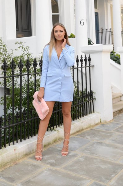 baby blue blazer dress with faux fur white clutch bag