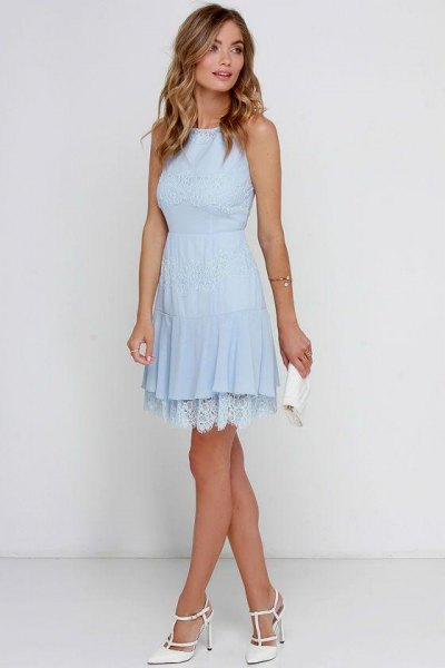 baby blue fit and flare mini dress with lace hem