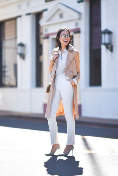 beige long trench coat with all white outfit