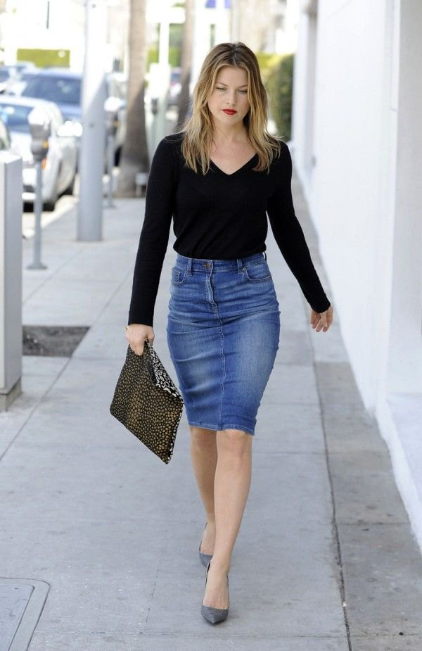 ebf0fb9357364 How to Style Knee Length Denim Skirt 15 Breezy Outfit Ideas ...
