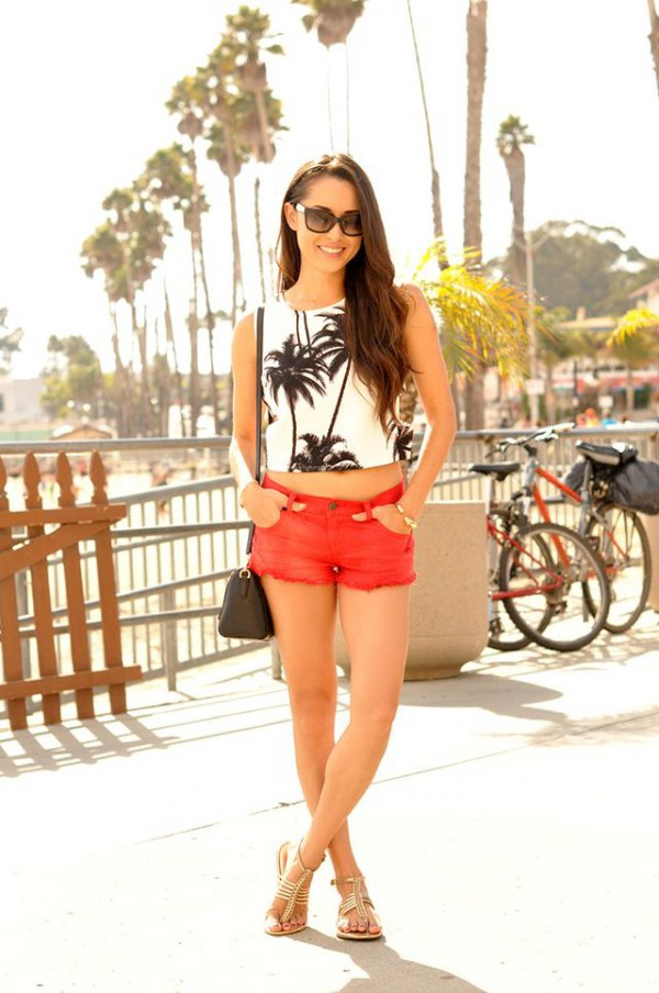 best orange shorts outfit ideas for women