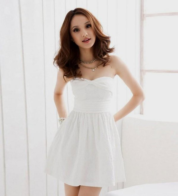 best white strapless dress outfit ideas