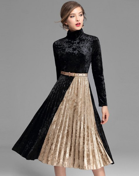 black and rose gold two colored mock neck velvet midi dress