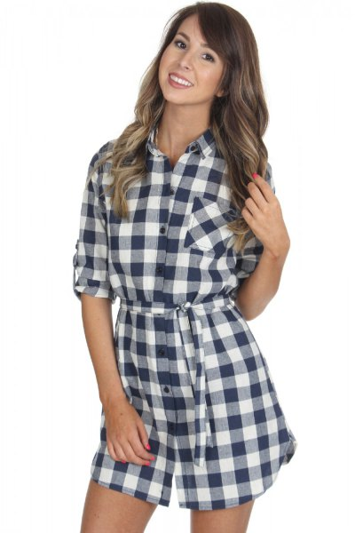 black and white half sleeve checkered shirt dress