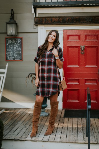 black and white plaid tunic with camel over the knee boots