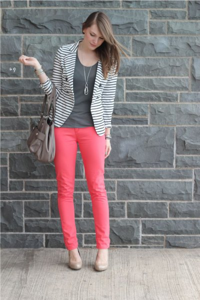 black and white striped blazer with pink skinny jeans