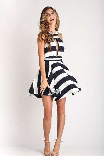 black and white striped halter mini skater dress