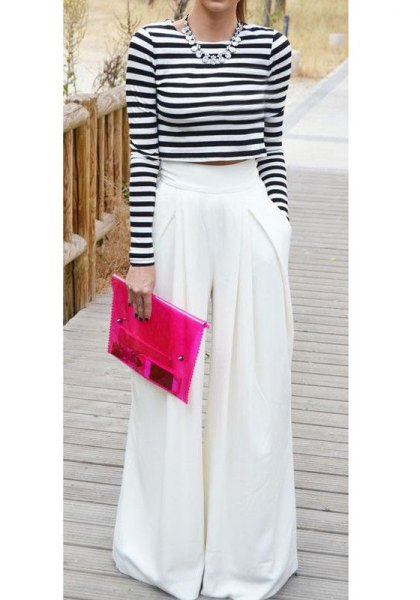 black and white striped long sleeve cropped tee with flared pants