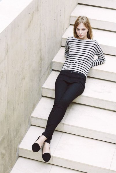 black and white striped long sleeve top with chinos and ballet flats