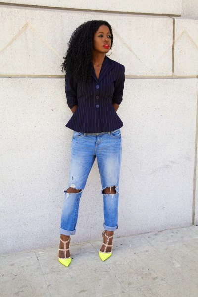 black and white striped peplum blazer with ripped boyfriend jeans