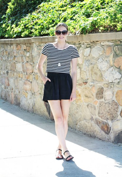 black and white striped tee with high waisted silk shorts