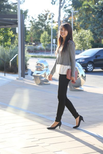 black ballet kitten heels with grey and white color black sweater
