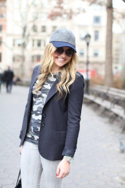 black blazer and camo t shirt