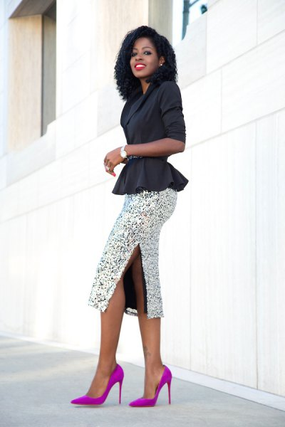 black blazer with silver sequin midi bodycon skirt