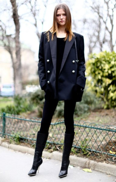 black boyfriend blazer with mini shift dress and boots