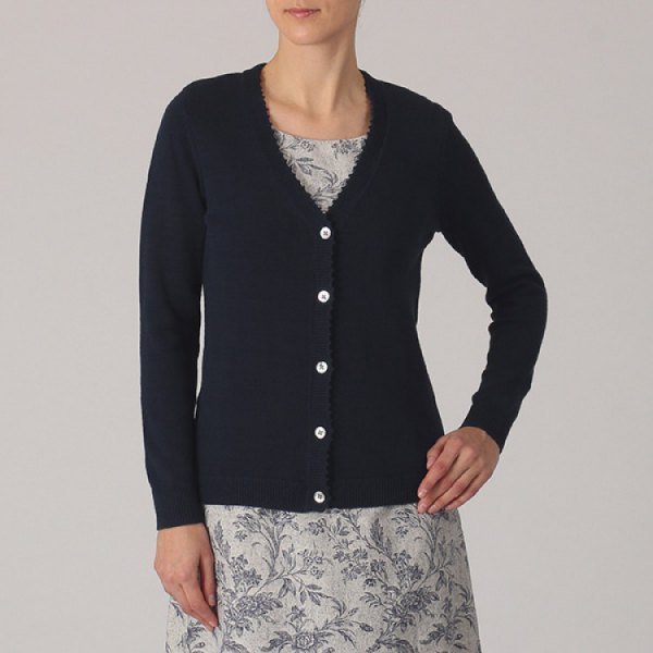 black cardigan with grey floral embroidered midi sheath dress