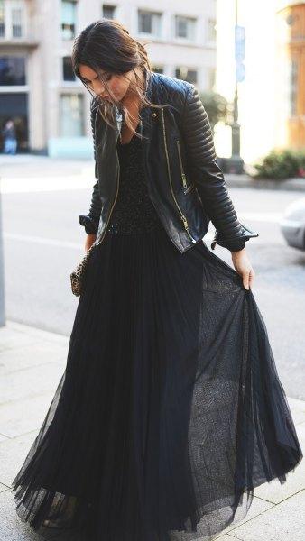 black chiffon pleated maxi dress with leather jacket