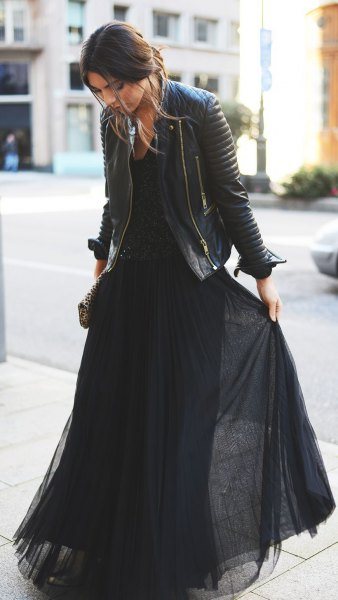 black chiffon pleated maxi dress with leather jacket