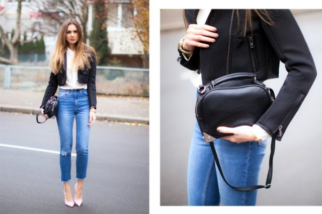 black cropped blazer with white chiffon button up shirt and blue jeans