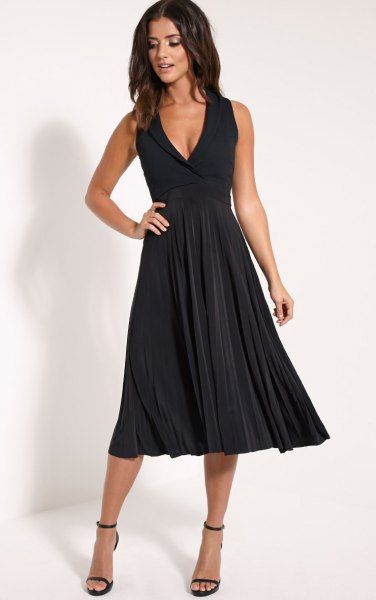 black deep v neck fit and flare midi pleated dress