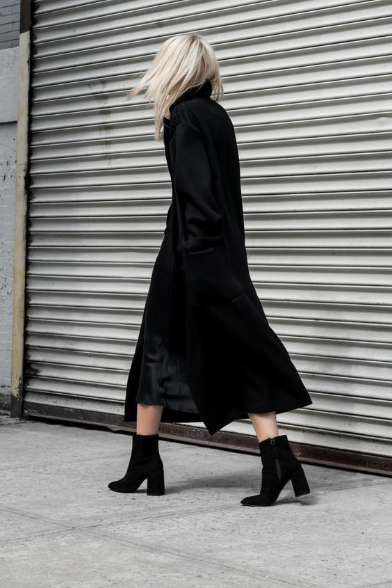 black duster coat all black satin