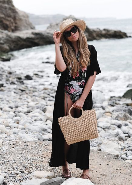 black duster coat floral swimsuit