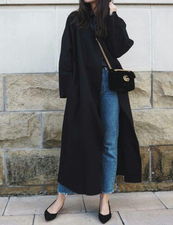 black duster coat oversized