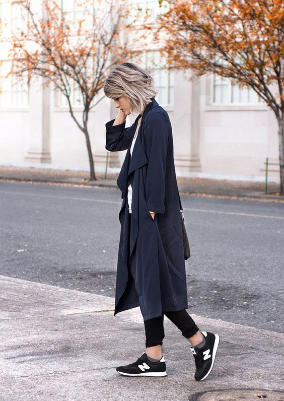 black duster coat sneakers
