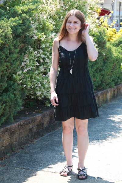 black gathered waist flared mini dress