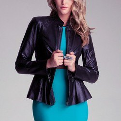 black jacket with teal belted bodycon midi dress