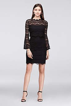 black lace bell sleeve mini cocktail dress