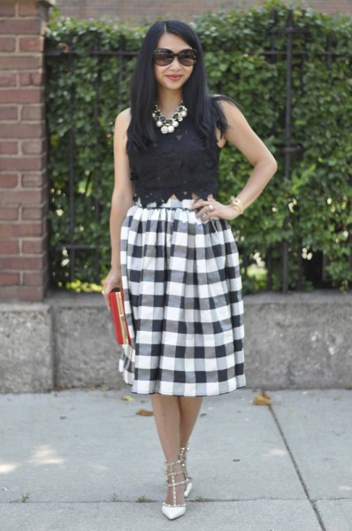 black lace top with checkered midi skirt
