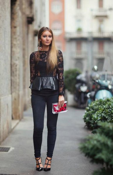 black leather and lace long sleeve peplum top with skinny pants