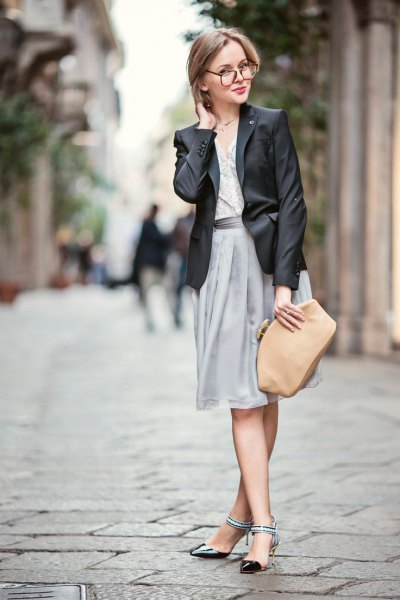 black leather blazer and grey pleated midi skirt