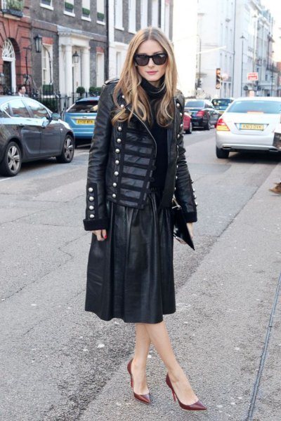 black leather military blazer with midi flared skirt
