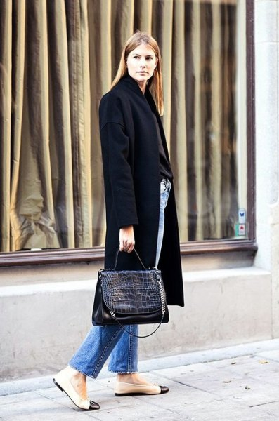 black long wool coat with pink leather ballet flats