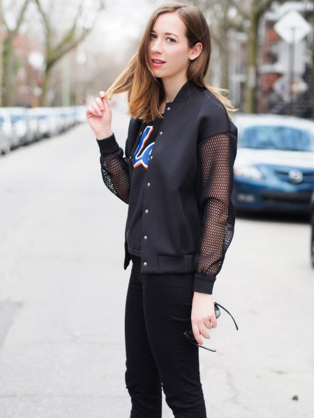 black mesh jacket with print tee and skinny jeans