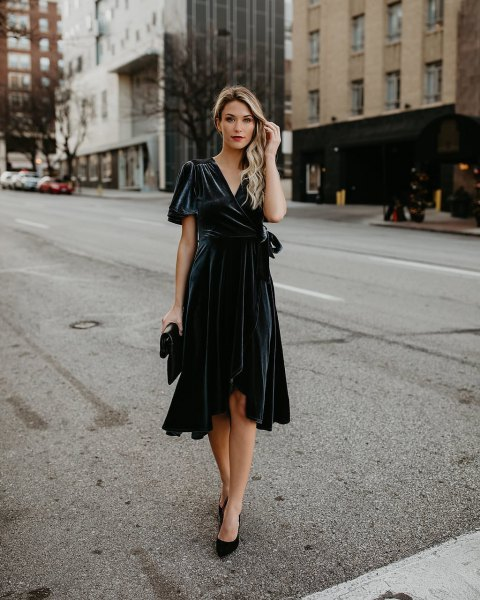 black midi ruffle wrap dress