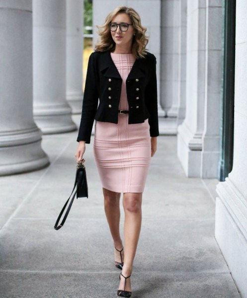 black military cropped blazer with plaid pink bodycon mini dress
