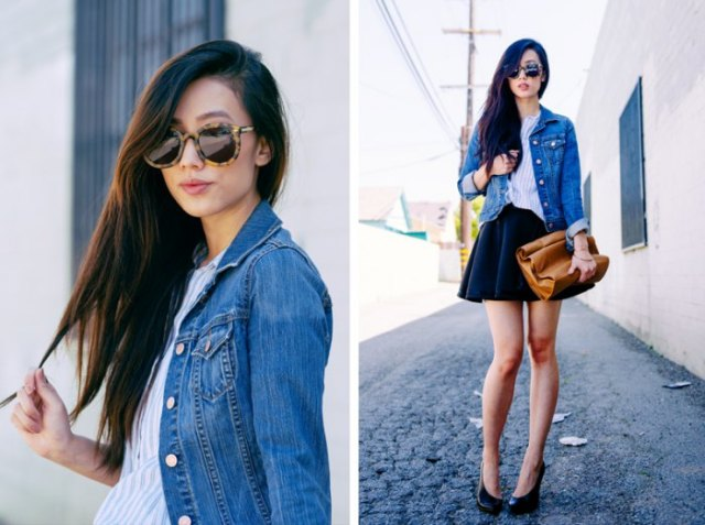 black mini circle skirt with blue denim jacket