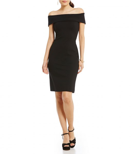 black off the shoulder short sleeve mini sheath dress