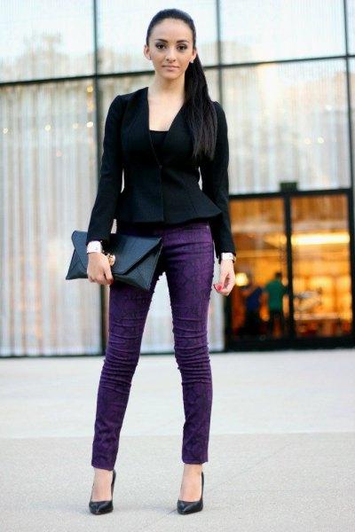 black peplum blazer with blue skinny jeans