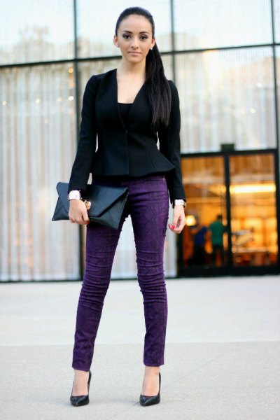 black peplum blazer with blue skinny jeans