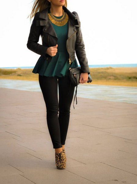 black peplum blazer with dark blue top