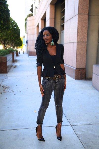 black peplum blazer with grey ankle jeans