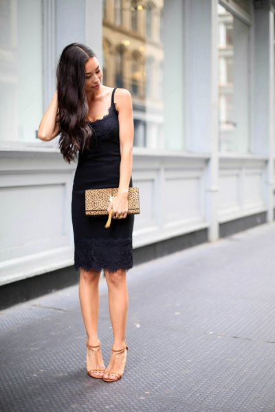 black scalloped neckline low cut sundress